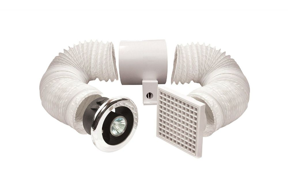 "Manrose Primero FDL100C 100mm/4"" 12v In-line Axial Extractor Fan Chrome Showerlight"